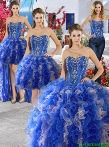 Unique Royal Blue and Champagne Organza Detachable Quinceanera Dresses with Appliques and Ruffles