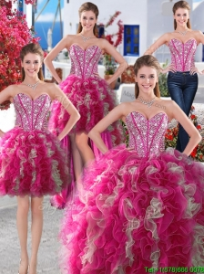 Wonderful Big Puffy Beaded and Ruffled Detachable Quinceanera Dresses in Organza
