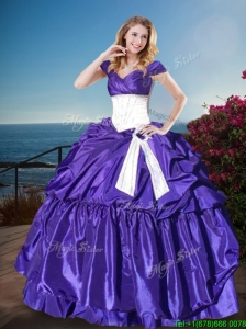 2016 Affordable Off the Shoulder Cap Sleeves Quinceanera Gown with Belt and Pick Ups