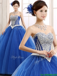 2016 Elegant Beaded Bodice Really Puffy Sweet 16 Dress in Blue