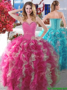 2016 New Arrivals Beaded and Ruffled Quinceanera Gown in Hot Pink and Champagne