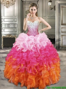 2016 Fashionable Beaded Bodice and Ruffled Quinceanera Dress in Gradient Color