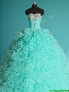 Exclusive Apple Green Big Puffy Quinceanera Dress with Beading and Ruffles