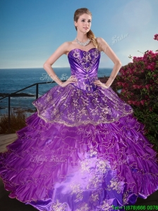 New Arrivals Applique and Ruffled Layers Quinceanera Gown in Organza and Taffeta