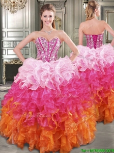 New Gradient Color Big Puffy Sweet 16 Dress with Beading and Ruffles