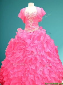 New Style Hot Pink Sweet 16 Gown with Beading and Ruffles