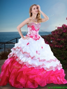 Visible Boning Beaded and Ruffled Quinceanera Gown in Hot Pink and White