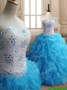 Affordable Baby Blue Big Puffy Quinceanera Dress with Beading and Ruffles