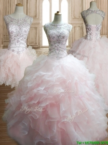 Wonderful Scoop Beading and Ruffles Detachable Quinceanera Dress in Baby Pink