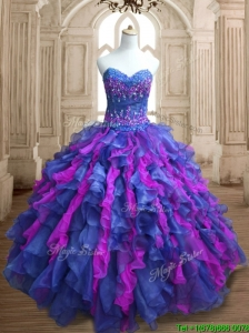 Best Selling Really Puffy Organza Quinceanera Dress with Appliques and Ruffles