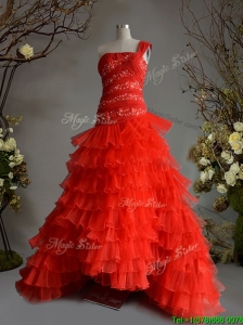 Fashionable One Shoulder A Line Red Quinceanera Dress with Beading and Ruffled Layers