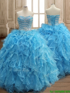Perfect Aqua Blue Organza Quinceanera Dress with Beading and Ruffles