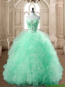 Popular Big Puffy Apple Green Quinceanera Dress with Beading and Ruffles