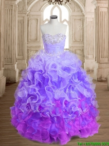 Unique Rainbow Big Puffy Quinceanera Dress with Beading and Ruffles