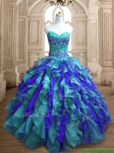 Affordable Teal and Blue Sweet 16 Dress with Appliques and Ruffles