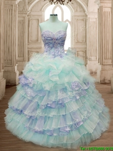 Hot Sale Ruffled Layers and Applique Quinceanera Dress with Big Puffy