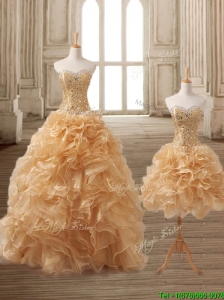 Latest Gold Detachable Quinceanera Dress with Beading and Ruffles