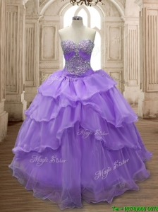 Pretty Big Puffy Ruffled Layers and Beading Sweet 16 Dress in Organza