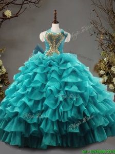Fashionable Halter Top Teal Quinceanera Dress with Beading and Ruffled Layers