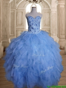 Gorgeous Tulle Beaded and Ruffled Sweet 16 Dress with Puffy Skirt