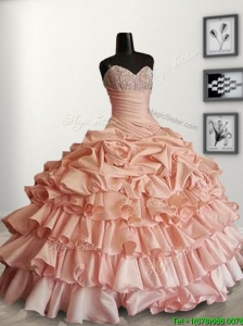 Modest Peach Sweet 16 Dress with Beading and Ruffled Layers
