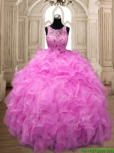 See Through Scoop Hot Pink Sweet 16 Dress with Beading and Ruffles