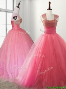 Cheap Straps Beading Brush Train Quinceanera Dress in Watermelon Red