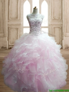 Lovely Beaded and Ruffled Scoop Quinceanera Dress in Light Pink