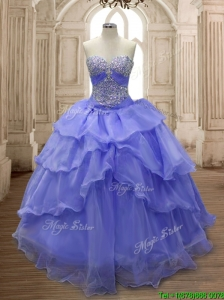 Lovely Lavender Big Puffy Quinceanera Dress with Ruffled Layers and Beading