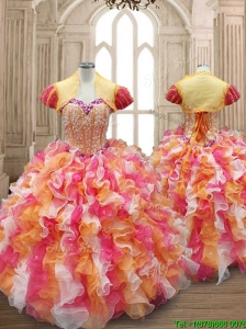 New Arrivals Multi Color Quinceanera Dress with Beading and Ruffles