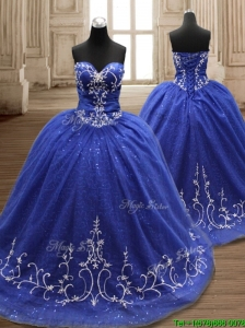 Perfect Applique Royal Blue Sweet 16 Dress with Brush Train