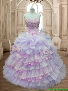 Pretty Lavender and Pink Quinceanera Dress with Ruffled Layers and Appliques