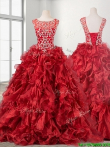 See Through Beaded Scoop Wine Red Quinceanera Dress with Brush Train