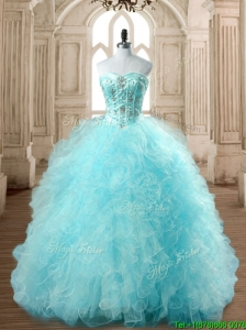 Best Selling Tulle Beading and Ruffles Quinceanera Dress in Baby Blue