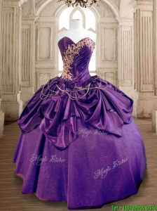 Exclusive Beaded and Ruffled Taffeta Sweet 16 Dress in Purple