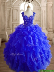 Gorgeous Royal Blue Straps Quinceanera Dress with Beading and Ruffles