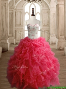 Latest Beaded Bodice and Ruffled Quinceanera Dress in Coral Red