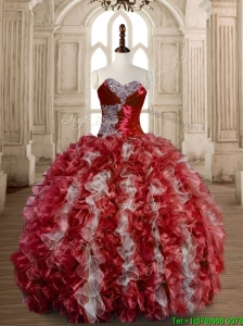 Latest Beaded Wine Red and White Sweet 15 Dress in Organza