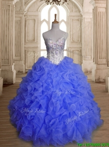 Perfect Blue Organza Quinceanera Dress with Beading and Ruffles