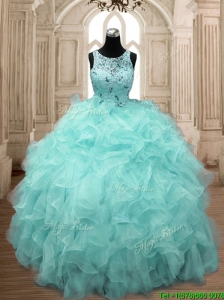 See Through Scoop Beading and Ruffles Quinceanera Dress in Aqua Blue