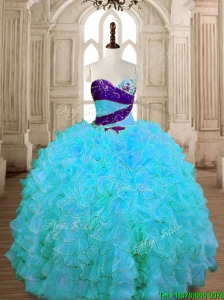 Unique Baby Blue Quinceanera Dress with Beading and Ruffles