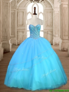 Beautiful Baby Blue Sweet 16 Dress with Beading for Spring