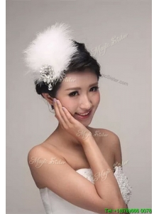 Modest White Headpieces with Beading and Feather