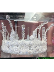Elegant Rhinestoned and Laced Tiara for Ladies