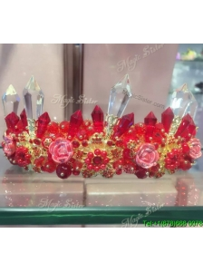 Fashionable Red Tiara with Rhinestone and Imitation Pearls