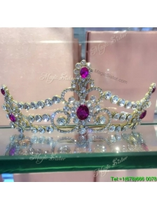 Luxurious Tiara with Fuchsia Rhinestones for Ladies