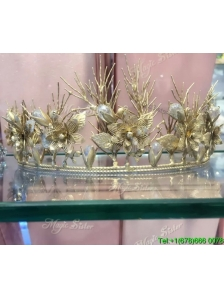Perfect Tiara with Rhinestones and Floral Alloy