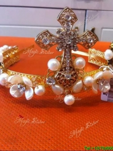 Latest Tiara with Rhinestone and Imitation Pearls