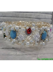 Elegant Tiara with Rhinestone and Imitation Pearls