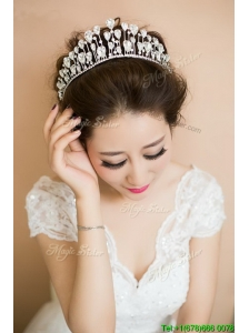 Romantic Silver Tiaras with Beading for Women